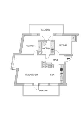 Ljus och öppen planlösning,  två stora balkonger, hög standard. Hiss. Varmgarage