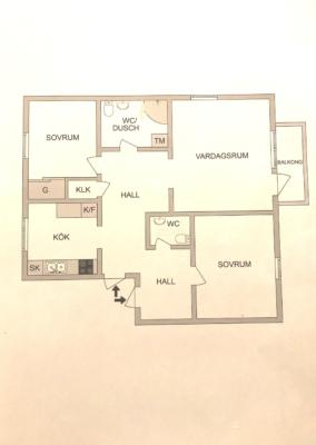 Fin 3;a med dubbla ingångar, stilrent kök med matplats, balkong i väster, 2 WC.