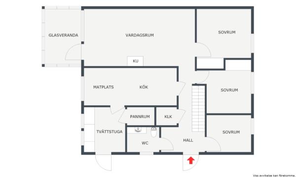 6 sovrum, kakelugn, glasveranda, bastu. Renoveringsbehov.