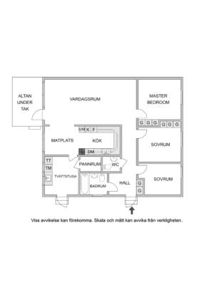 1-plansvilla med garage och inredningsbar vind.