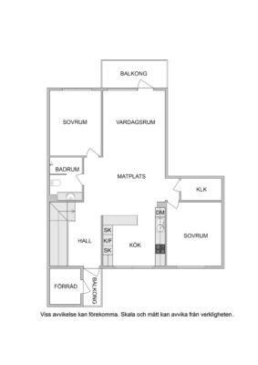Gavellägenhet med öppen planlösning, nyrenoverat badrum och två balkonger!