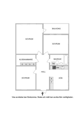 Fin 3:a en trappa upp. Nytt kök, golv och ytskikt 2018. Balkong. P-plats ingår